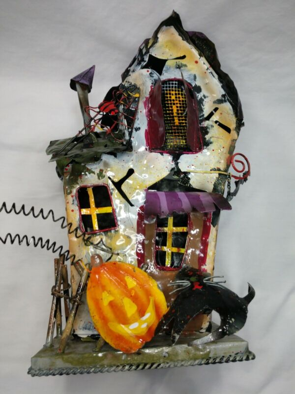 Haunted Halloween Village House Bats Cats Spiders jack o