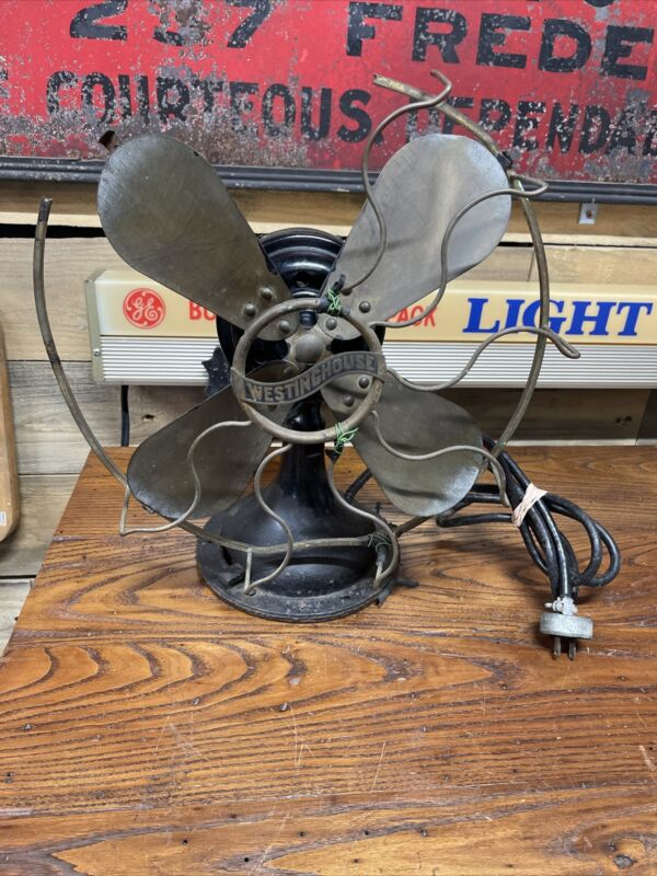 """Antique Westinghouse Electric Fan 12"""" Brass Blades & Cage Centrifugal Start"""