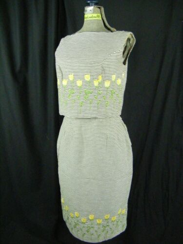 COUNTRY SET BY MARGIT Vtg 50-60s Yellow Roses Top & Skirt-Bust 36/Waist 25/XS