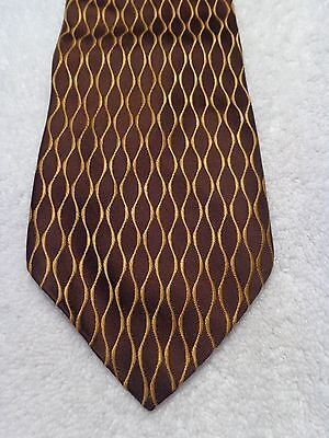 VINTAGE MENS TIE 1950'S 1960'S 1970'S FASHION FUN BROWN WITH GOLD 59 X 4