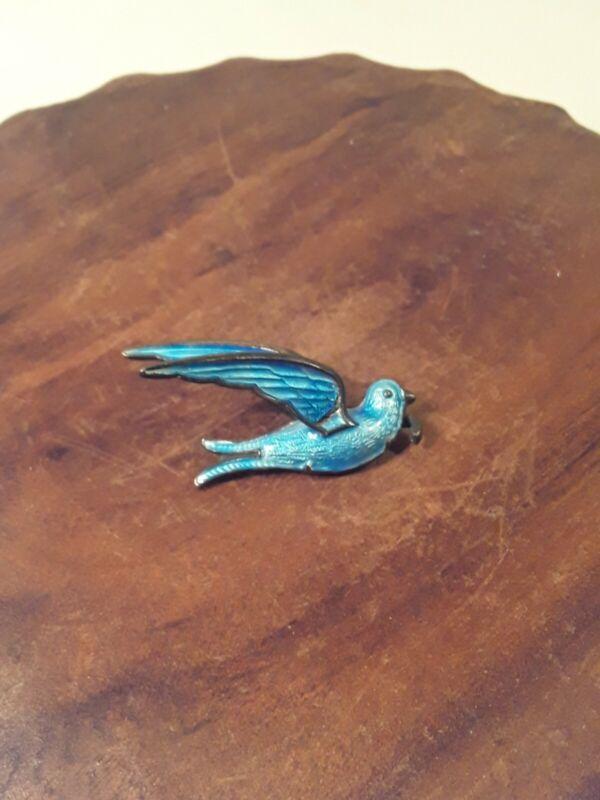 Old Silver Blue Guilloche Enamel Sparrow