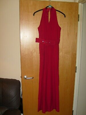 Julia Jordan Plunging Neck Red Jumpsuit Size 12 belted  Retail 130