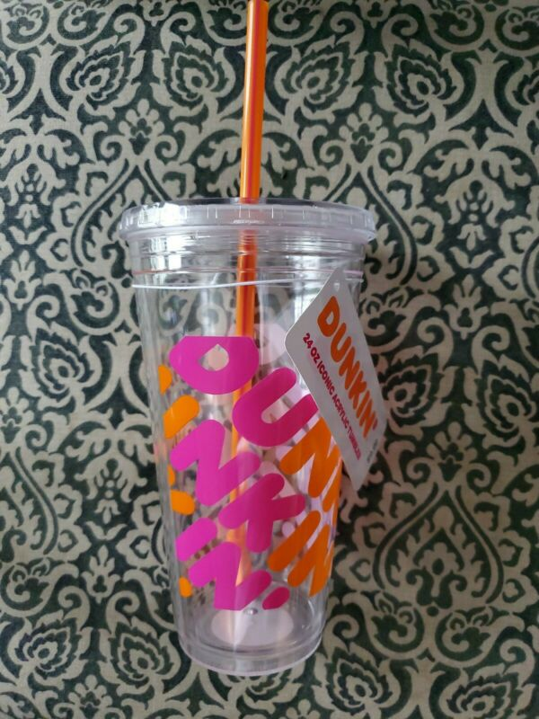 Dunkin Donuts 24 Oz Iconic Acrylic Tumbler Nwt New Clear Orange Pink Cup Refill