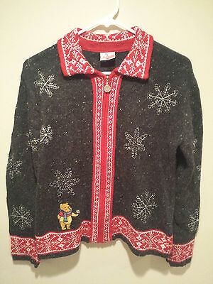 Vintage Ugly Christmas Sweater Tacky Large L Gray Disney Store Winnie The - Ugly Sweater Store