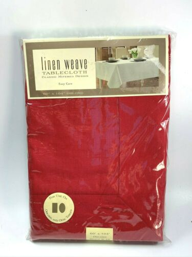 Red Linen Weave Tablecloth 60 X 104 Oblong 32222 UNUSED