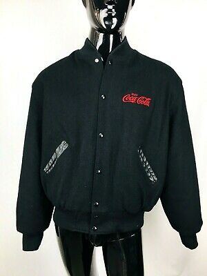 Vintage Holloway Embroidered COCA COLA Men's Black Wool Varsity Jacket