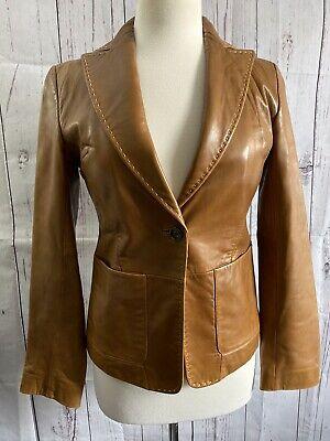 Banana Republic brown butter Tan soft leather jacket/ blazer womens size 0