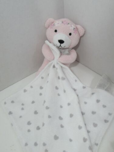 WENDY BELISSIMO Pink teddy bear flowers white gray hearts Lovey Security Blanket
