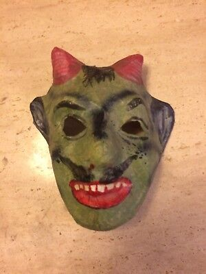 RARE OLD HALLOWEEN PAPER MACHE DEVIL DEMON HEAD MASK - Paper Mache Heads Halloween