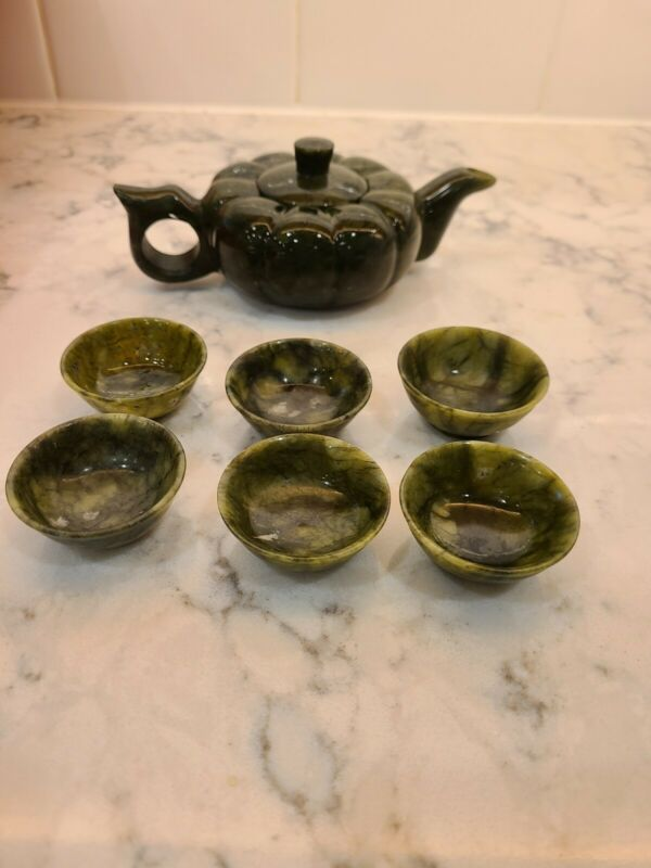 Chinese Green Jade pumpkin Carved teapot teacup Tea Set with case