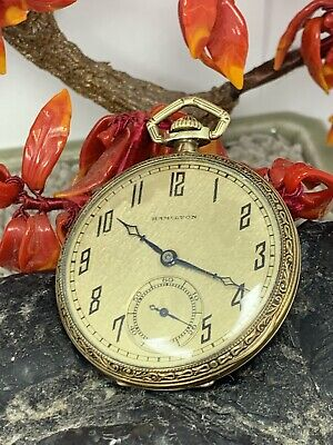 Hamilton Cal: 912 17J 44mm 14k Gold Filled Open Pocket Watch Extra Nice