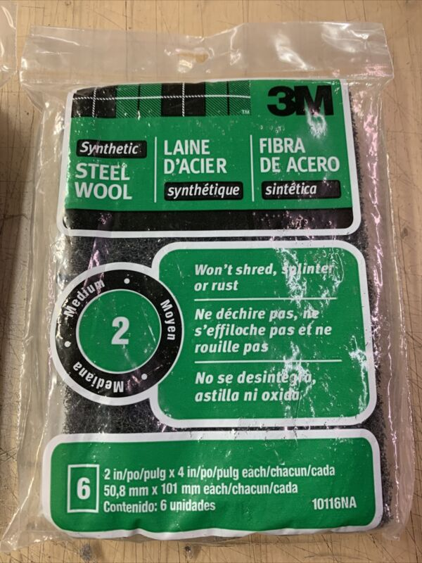 3M Synthetic Steel Wool Pads, 10116NA, #2 Medium, 2 in x 4 in