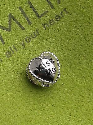 "Genuine New CHAMILIA 925 Silver & Swarovski ""Kiss Me"" Heart Bead Charm RRP £55"
