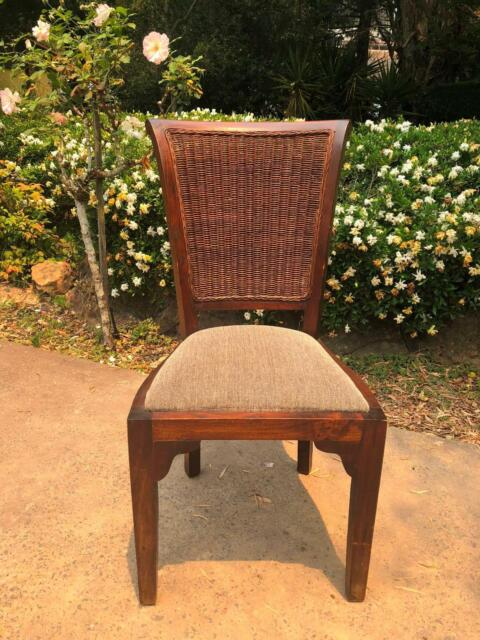 Set of 5 Solid Wood and Cane Plantation Dining Chairs ...