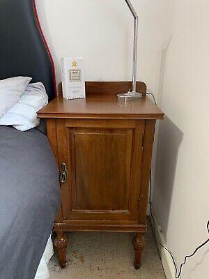 Antique Vintage Wooden Bedside Cabinet Table Cupboard