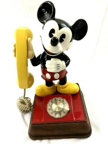 Vintage Mickey Mouse Figure Rotary Telephone Phone