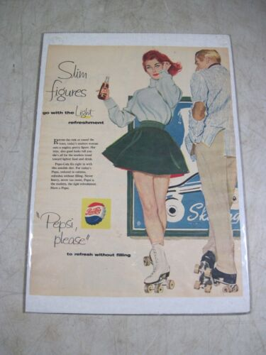 Vintage 1958 Pepsi-Cola Poster Magazine Page Advertisement Print Ad Slim Figures