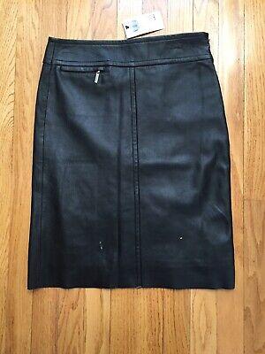 NWT BCBG Max Azria Pencil Skirt Black Soft Leather Knee Length Zip Pocket 0 $198