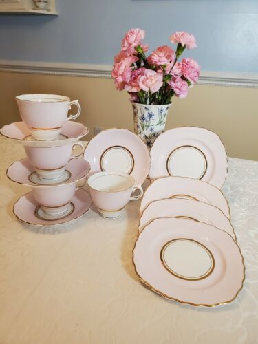 Set Of 4 1940s Vintage Colclough Pink Teacup& Saucer Dessert P English Bone chin