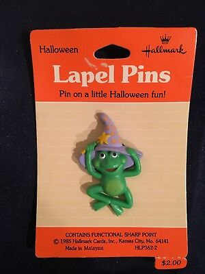 1985 Hallmark PIN Halloween Frog Witch Vtg Holiday Brooch Pin