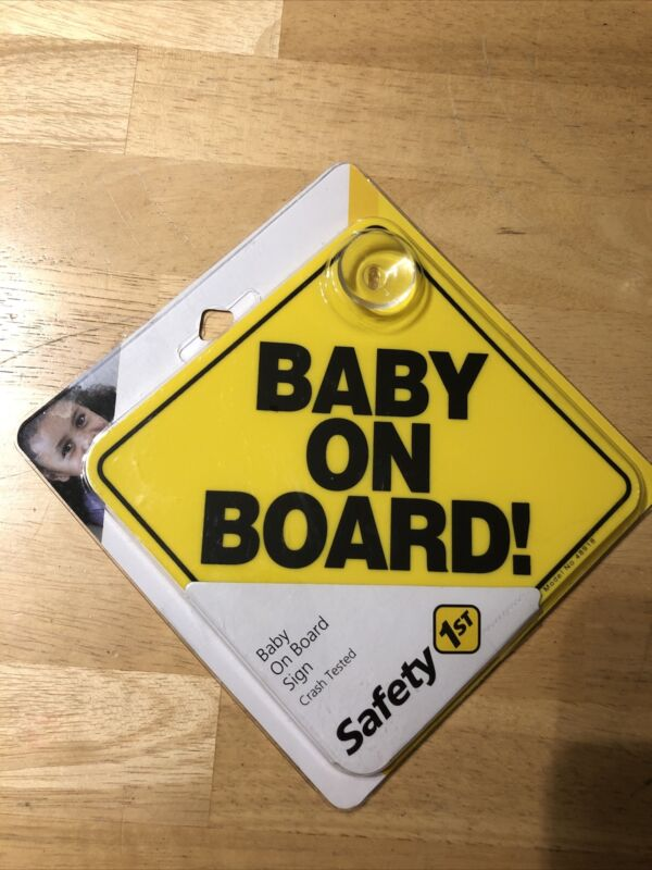 Baby On Board Sign Yellow Brand New In Package With Suction Cup (Safety 1st)