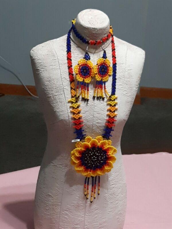 Artesanal jewelry Huichol Art  necklace & earrings set multicolor