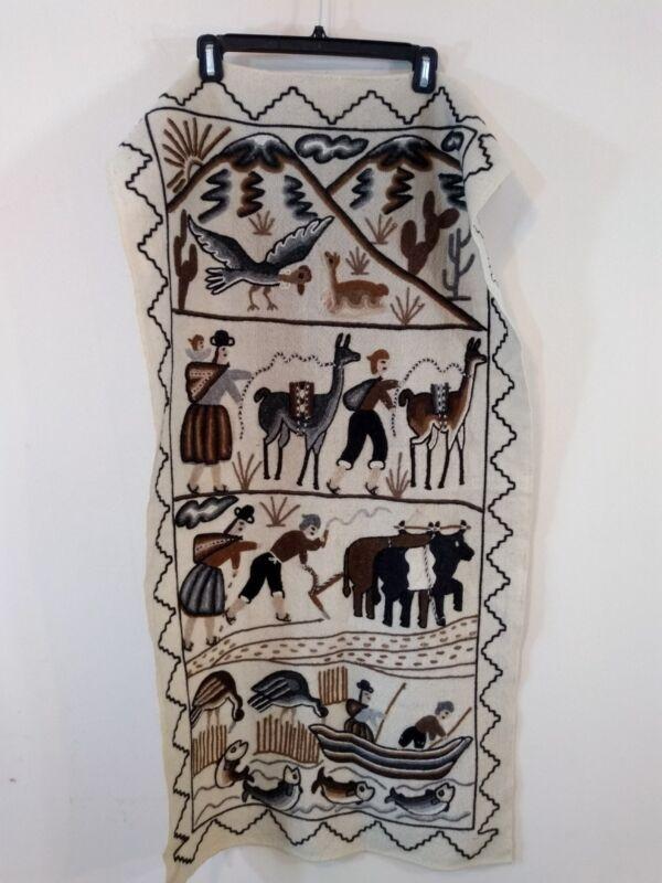 Crewel Wool Tapestry Folk Art Fishing Farmer