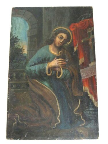 Antique Mexican Spanish Colonial Oil Painting Santa Maria