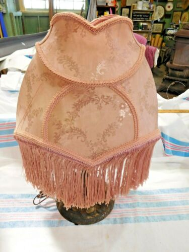 Victorian Style Pink Brocade Shade with Fringe #2687