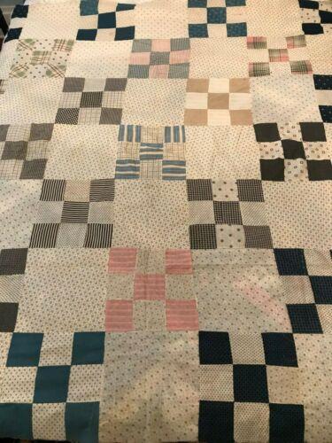 "Antique Edwardian Nine Patch Quilt Top Hand Sewn 68""x 70"""