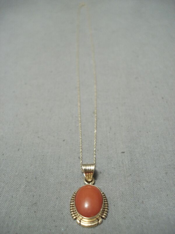 INCREDIBLE 14K GOLD VINTAGE NAVAJO CORAL NECKLACE