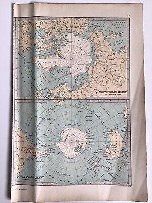North & South Polar Charts 1874 Original Antique Map Bartholomew, Philip, Atlas