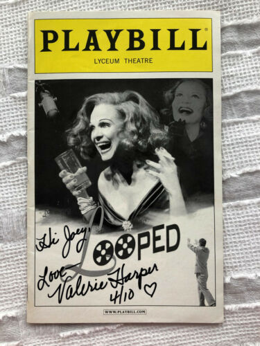 """Signed VALERIE HARPER """"Looped"""" Playbill 2010 Broadway Program Autographed"""