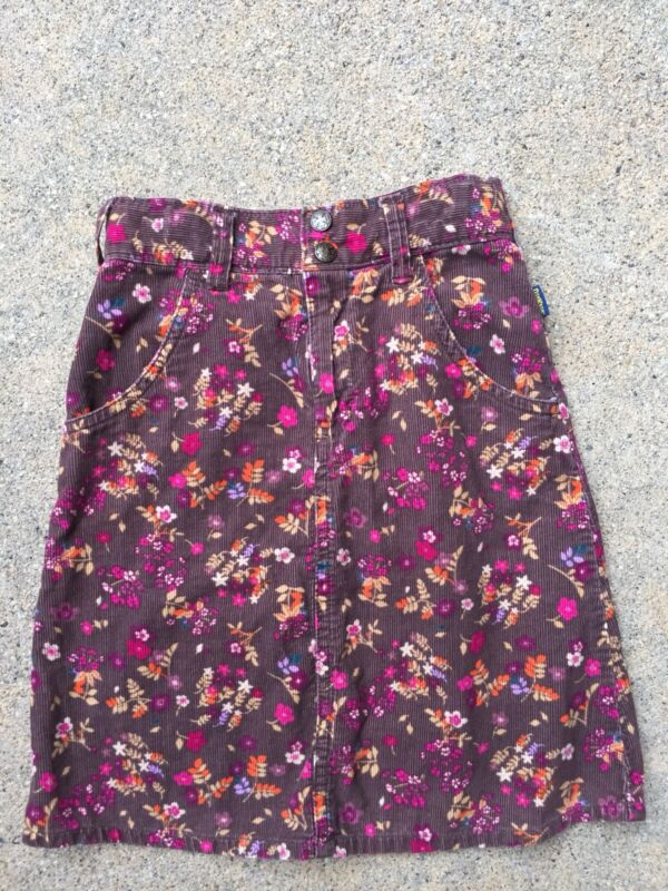Oshkosh Girls Brown Orange Purple Multi-Color Floral Adjustable Skirt Size 7