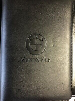 Bmw Motorcycles Black Leather Binder Folder With Notebook