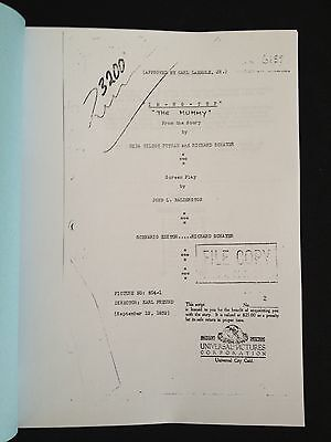 Script for THE MUMMY (1932) aka IMHOTEP with Boris KARLOFF Universal Horror