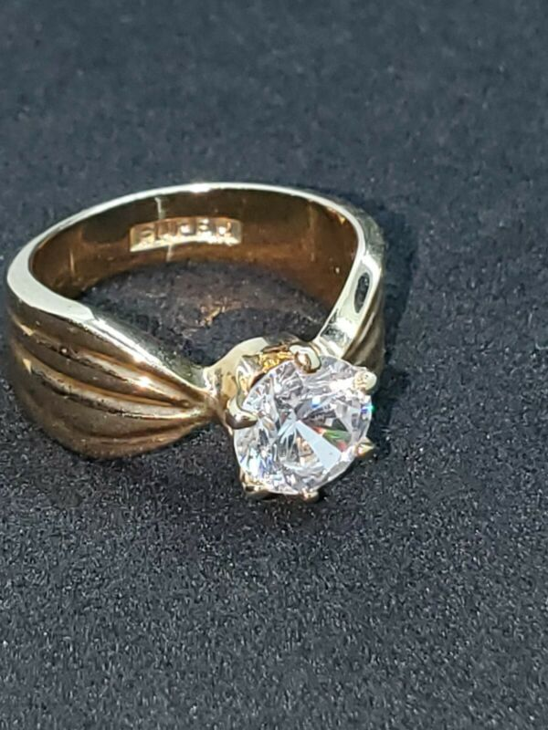 Vintage Gold Tone Solitaire Crystal Ring, Signed Super, Size 5