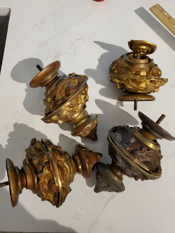 4 Huge Antique Gilded Brass Post Finials 7 inches