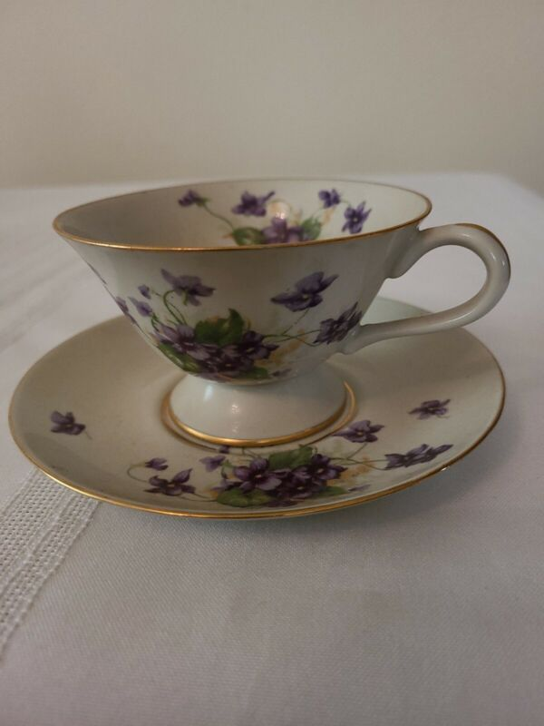 Ridgewood Translucent China Footed Cup & Saucer Purple Flower Design