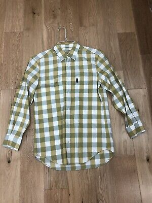 Burberry Brit Mens Yellow / Whte Small Check Shirt