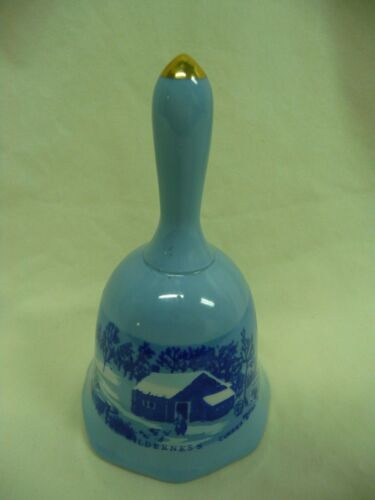 Vintage Currier & Ives A Home In The Wilderness Decorative Porcelain Bell