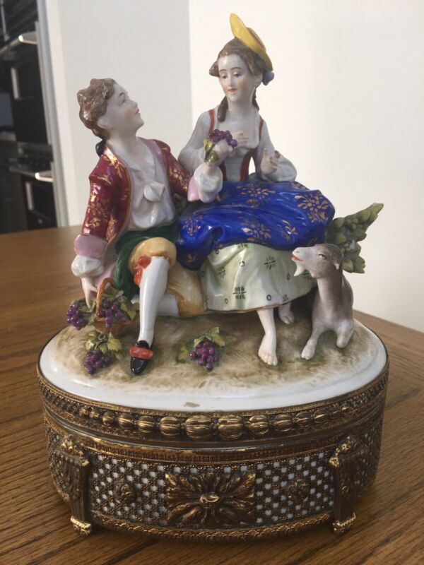 Antique Porcelain Gallant Couple Container Signed Dated Getmany 1885~Very Rare