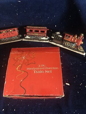 Holiday Traditions Handpainted Porcelain Train Set Christmas Village Train 3 Pc.