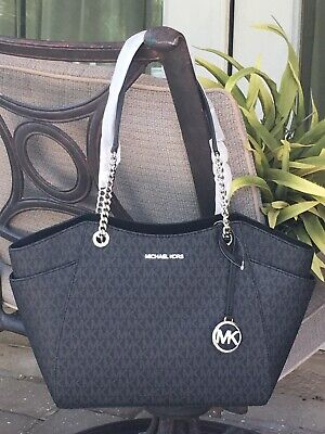MICHAEL KORS JET SET TRAVEL LARGE CHAIN SHOULDER TOTE BAG BLACK SIGNATURE SILVER