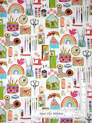 Create Hobby Sew Paint Craft Toss White Cotton Fabric Three Wishes By The Yard