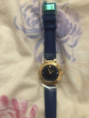 Versace Daphnis Royal Blue And Gold Leather Watch