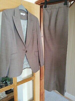 Next ladies wool trouser suit Size 10 light brown stripe