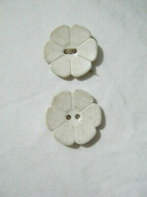Vintage flower shape white buttons x 2: ?1960s
