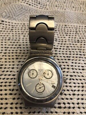 Men's Swatch Irony Stainless Steel Water Resistant Bracelet Link Wrist Watch