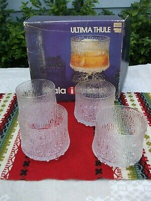vtg - iittala of Finland Ultima Thule, set of 4, old fashion/on the rocks, w/box